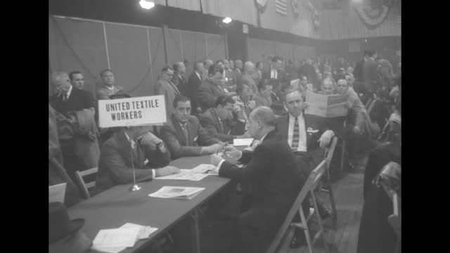 At the First Constitutional Convention of the American Federation of Labor and Congress of Industrial Organizations in 1955 in New York City woman...