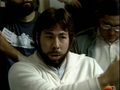 at the first hackers conference in 1984 steve wozniak and stuart brand discuss control of intellectual property leading brand to famously declare... - apple computer stock-videos und b-roll-filmmaterial