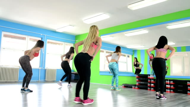 at the fitness club - step aerobics stock videos and b-roll footage