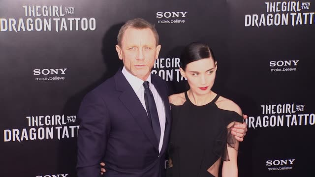 at 'the girl with the dragon tattoo' new york premiere new york ny united states - the girl with the dragon tattoo stock videos and b-roll footage