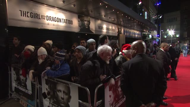 at the girl with the dragon tattoo world premiere at odeon leicester square on december 12 2011 in london england - the girl with the dragon tattoo stock videos and b-roll footage