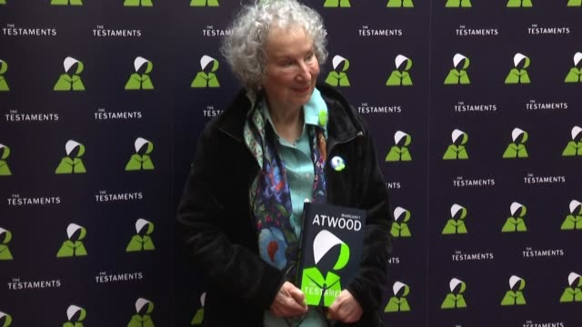 at the launch event for the testaments a sequel to the handmaid's tale for which fans have waited three decades author margaret atwood criticises us... - individual event stock videos & royalty-free footage