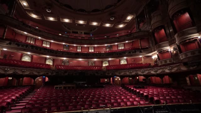 at the london coliseum on june 11, 2020 in london, england. the london coliseum, the largest theatre in london's west end is currently closed along... - ウェストエンド点の映像素材/bロール
