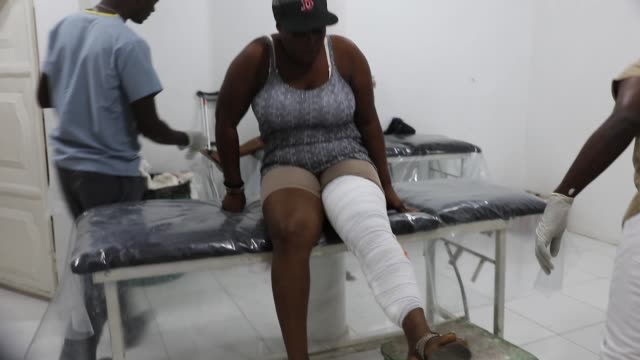 at the médecins sans frontières/doctors without borders drouillard hospital for burn patients on february 12 2018 in portauprince haiti the hospital... - health and safety点の映像素材/bロール
