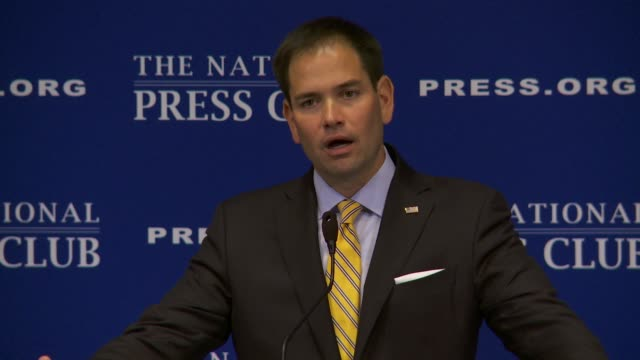 At the National Press Club Senator Marcio Rubio Republican from Florida gives a speech on retirement Social Security and Medicare as he explores a...