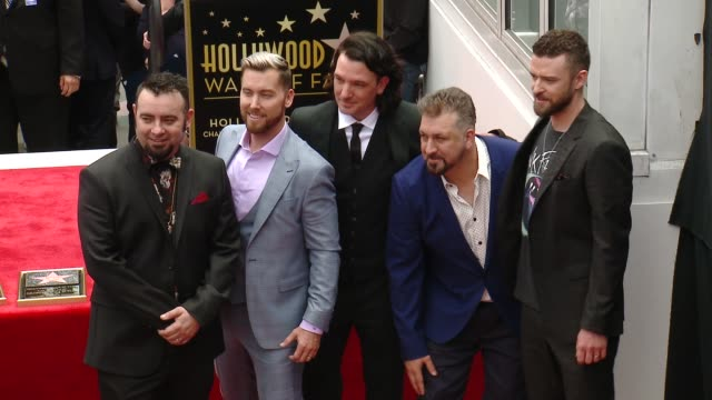 chyron at the *nsync honored with a star on the hollywood walk of fame on april 30 2018 in hollywood california - justin timberlake stock-videos und b-roll-filmmaterial