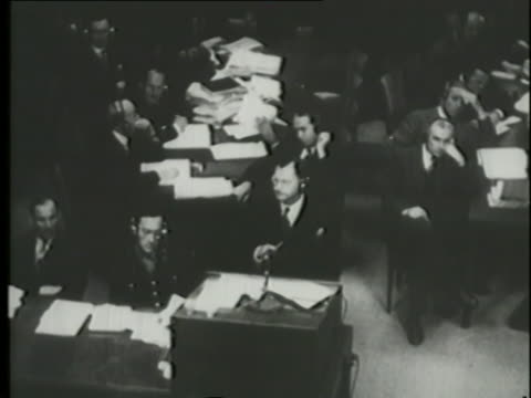 at the nuremberg trials a police investigator of  the reichstag fire states that hermann goering and joseph goebbels were instrumental in orchestrating the fire to strengthen the nazi party. - nuremberg trials stock videos & royalty-free footage