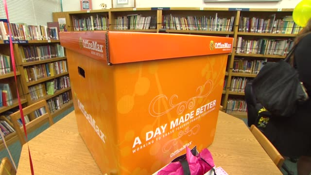 atmosphere at the officemax's 'a day made better' school advocacy campaign with adrienne maloof and dr paul nassif at sherman oaks ca - sherman oaks stock videos & royalty-free footage