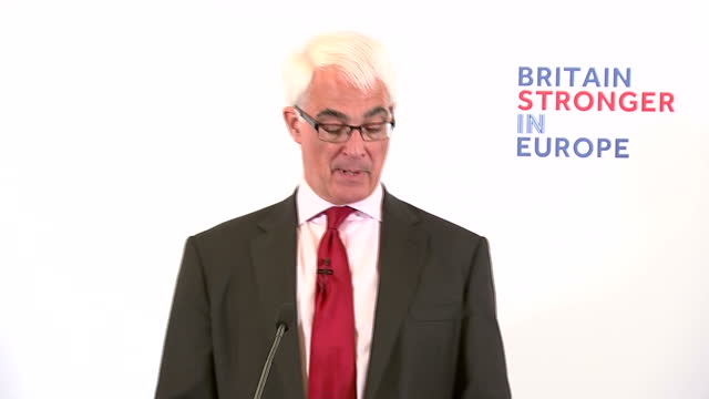 at the official 'remain' campaign speech former chancellor alistair darling warned that leaving the eu could wipe billions of pounds off uk trade and... - alistair darling stock videos & royalty-free footage