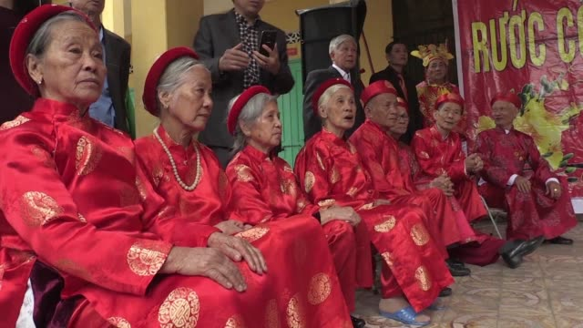 at the start of the new lunar year people in northern vietnam honour family members who have reached 60 80, 90 or 100 years of age - new age stock videos & royalty-free footage
