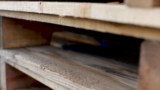 vídeos y material grabado en eventos de stock de en el viñedo - cerca de paletas de madera - paleta herramientas industriales