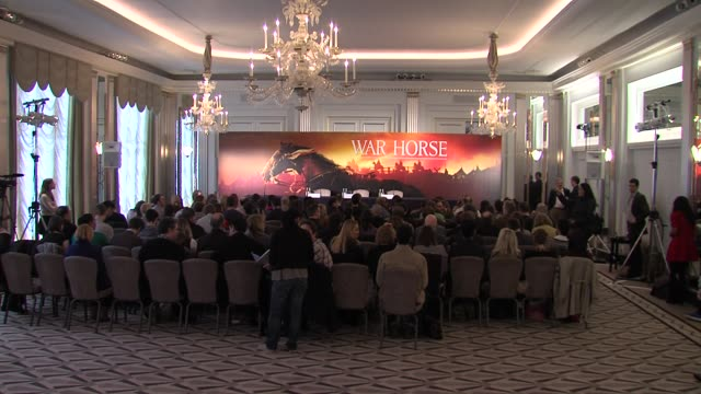 at the war horse press conference part one at claridge's hotel, london, uk on 9th january 2012 - claridge's stock videos & royalty-free footage