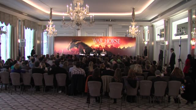 at the war horse press conference part one at claridge's hotel, london, uk on 9th january 2012 - war stock-videos und b-roll-filmmaterial