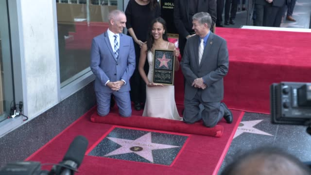 at the zoe saldana honored with a star on the hollywood walk of fame on may 03, 2018 in hollywood, california. - james cameron stock videos & royalty-free footage