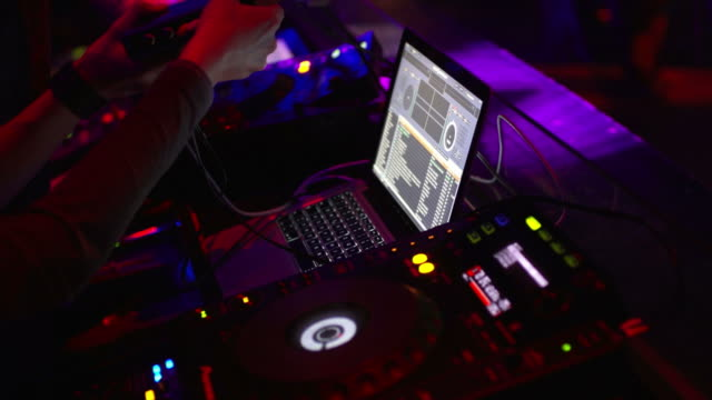 hd dj at work close-up - compact disc player stock videos & royalty-free footage