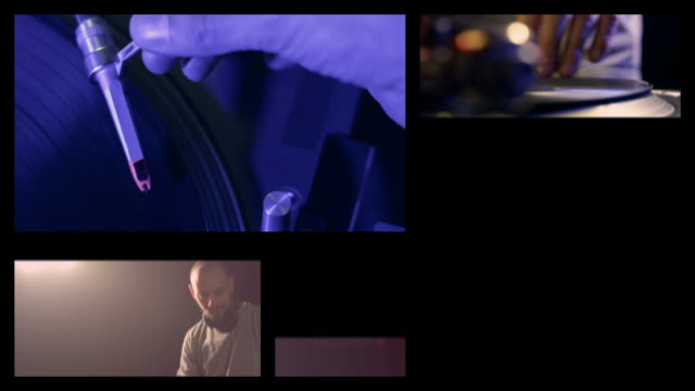 vídeos y material grabado en eventos de stock de dj en el trabajo (splitscreen - pantalla dividida