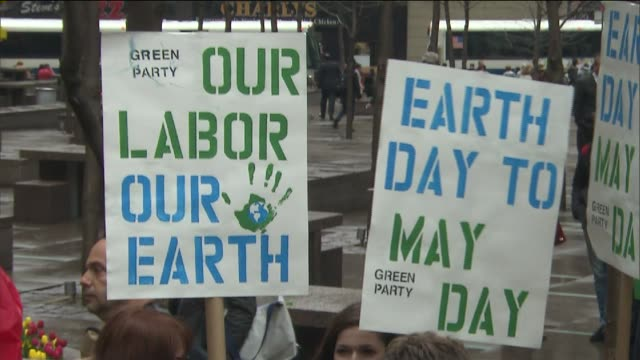 wpix at zuccotti park on april 22 2014 in new york city - earth day stock videos & royalty-free footage