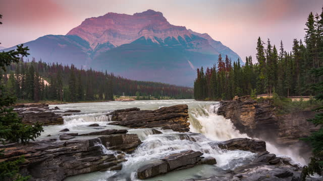 athabasca falls in jasper national park, canada - athabasca falls stock videos & royalty-free footage