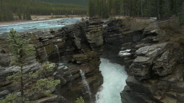 tu ws athabasca falls, river and snow capped mountain in jasper national park / alberta, canada - athabasca falls stock videos and b-roll footage