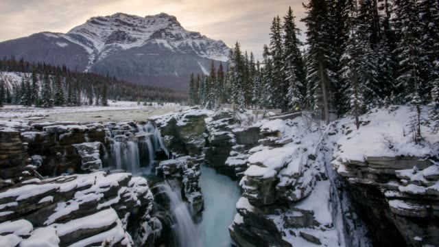 athabasca falls time lapse at sunrise time , jasper national park , alberta , canada - athabasca falls stock videos and b-roll footage