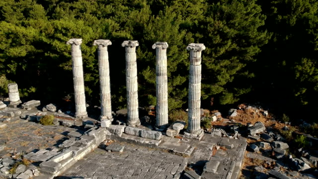 athena temple, priene - miletus stock videos and b-roll footage
