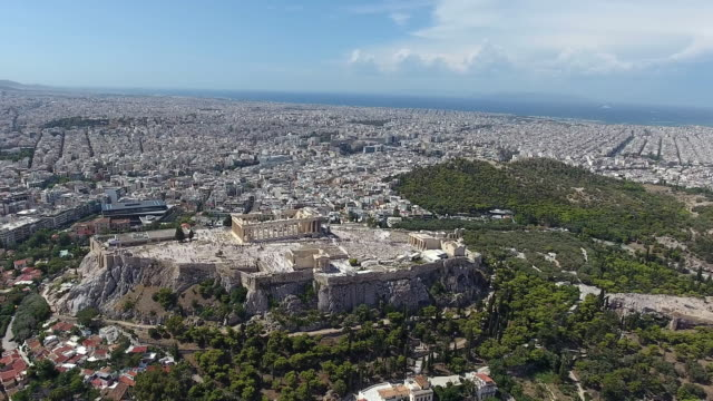 athens acropolis aerial view - parthenon athens stock videos and b-roll footage