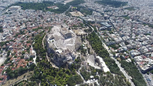 athens acropolis aerial view - lycabettus hill stock videos & royalty-free footage
