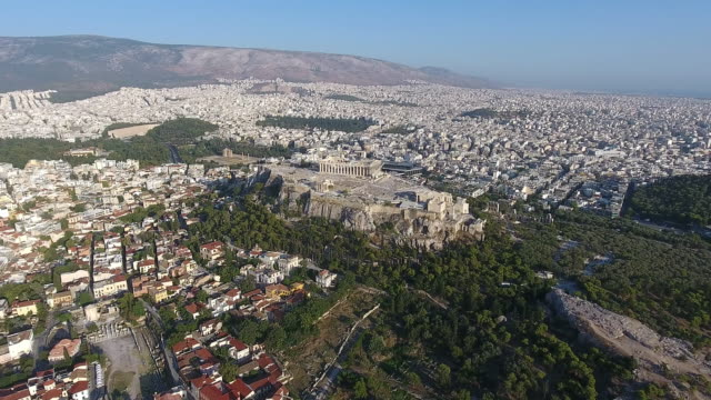 athens acropolis aerial view - parthenon athens stock videos & royalty-free footage