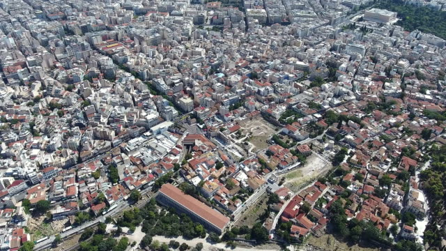 athens aerial view - parthenon athens stock videos and b-roll footage