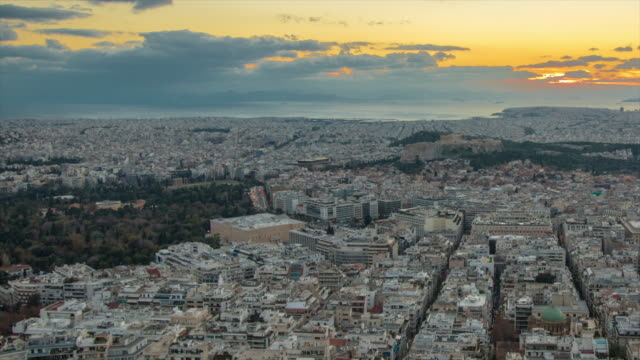 Athens cityscape. Day to night 4K Time lapse