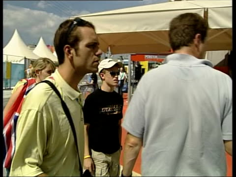 athens ext alastair campbell walking with colleague alastair campbell refusing to comment sot i'm having nice time at olympic games that's it - 2004 stock videos and b-roll footage