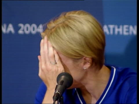 athens int contains flash photography paula radcliffe press conference sot i just felt like i'd let everyone else down but nobody was hurting inside... - face down stock videos & royalty-free footage