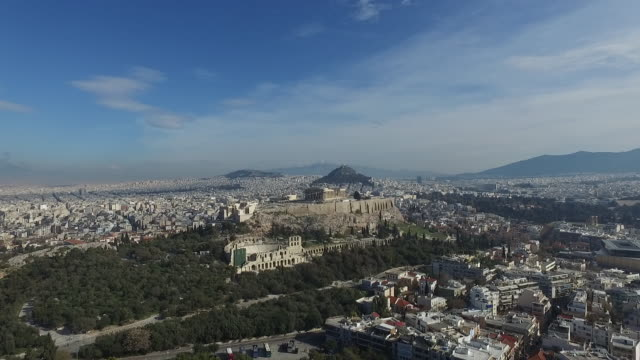 athens viewed from the air - acropolis athens stock videos & royalty-free footage