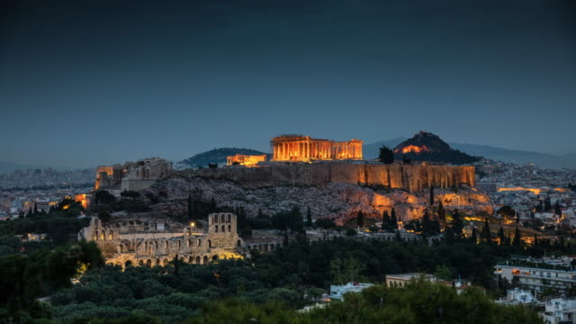 athens with acropolis in greece - day to night time lapse - athens greece stock videos & royalty-free footage