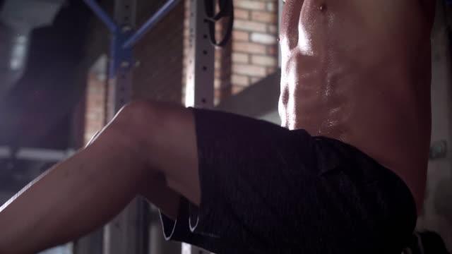 athlete doing chin ups/ mielec/ poland - podkarpackie voivodeship video stock e b–roll