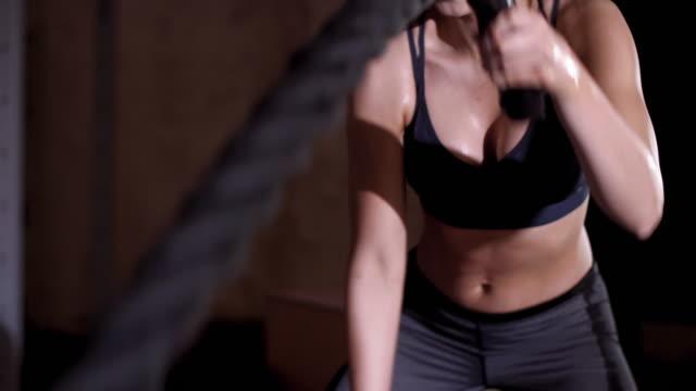 athlete exercising with ropes/ mielec/ poland - podkarpackie voivodeship video stock e b–roll