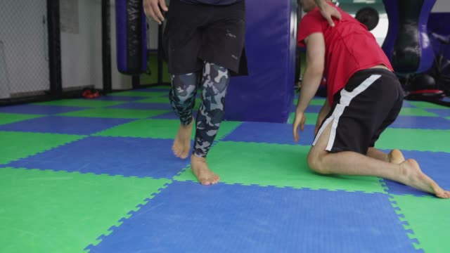 athlete men on martial arts training - wrestling stock videos and b-roll footage