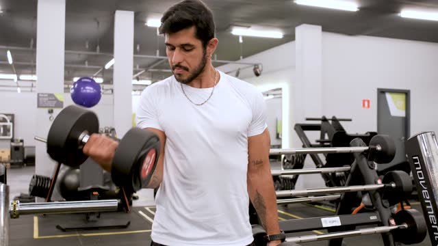 athlete performing dumbbell lifting in gym - bridle stock videos & royalty-free footage
