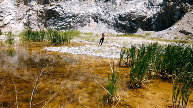 athlete run near river in the quarry - shirtless stock videos & royalty-free footage