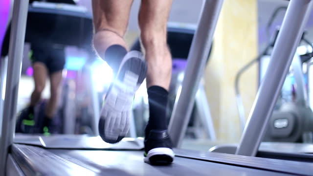 Athlete running on treadmill