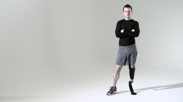athlete with prosthetic leg - white background stock videos & royalty-free footage