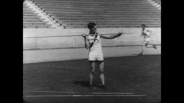 1927 Athlete's (Buster Keaton) attempt at the Javelin falls short