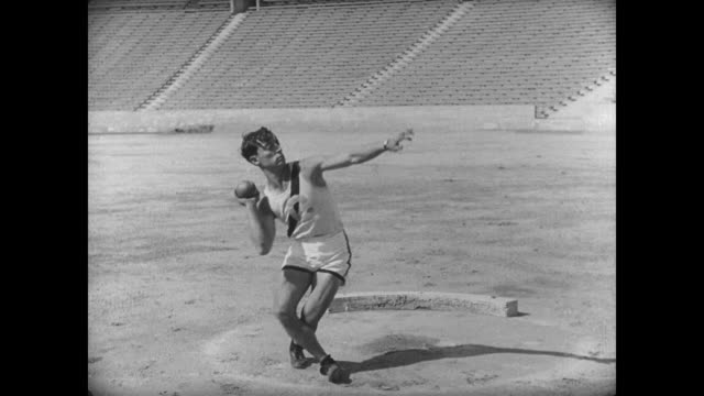 1927 athlete's (buster keaton) attempt at the shot put weighs him down - shot put stock videos & royalty-free footage