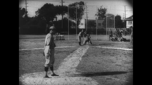 1927 Athlete's (Buster Keaton) baseball teammates are not happy with his inabilities