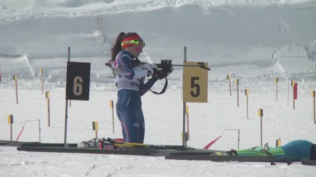 athletes compete in the girls' 75km biathlon pursuit competition during the european youth olympic festival at kandilli biathlon venue in erzurum... - biathlon stock videos and b-roll footage