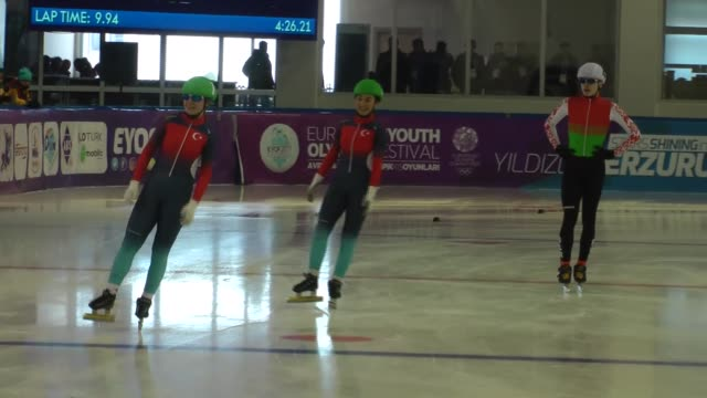 athletes compete in the mixed 3000m short track relay semi-final during the european youth olympic festival in erzurum, turkey on february 16, 2017. - semifinal round stock videos & royalty-free footage