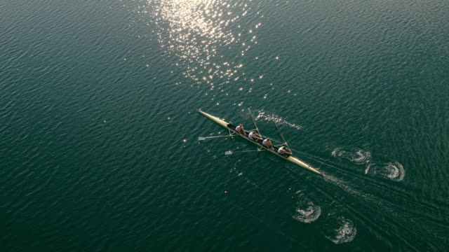 aerial athletes rowing in a coxless four across a lake - rowing stock videos & royalty-free footage