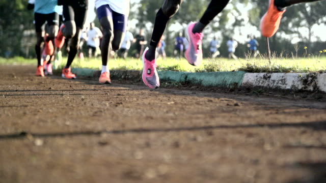 athletes running around track in park - activity stock videos & royalty-free footage