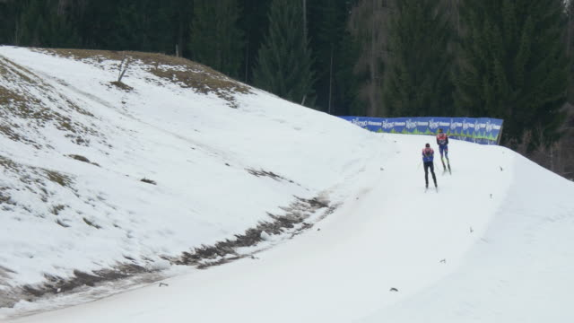 athletes training in cross country skiing during nordic combined world cup in val di femme on february 26 2016 in italy no - championships stock videos and b-roll footage
