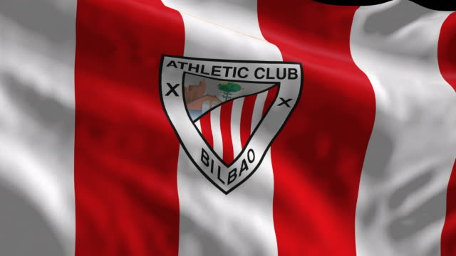 athletic club of bilbao spanish soccer team flag waving. computer generated animation for editorial use. seamlessly looped and close up. - loopable moving image stock videos & royalty-free footage